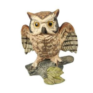 Vintage Horned Owl on Branch Figurine Hand Painted